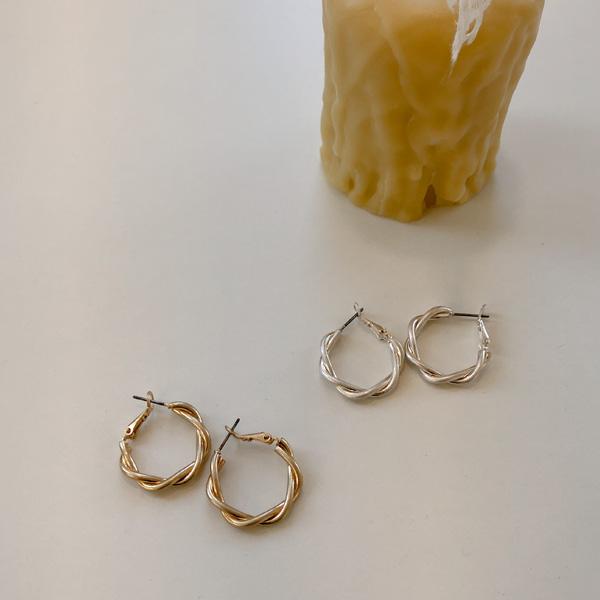 扭紋圓形耳環