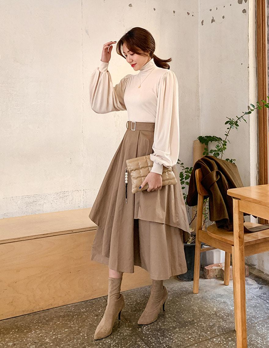 dalihotel-로맨틱 감성 오피스룩 달리호텔 - 상품명 : Belted Unbalanced Skirt♡韓國女裝裙