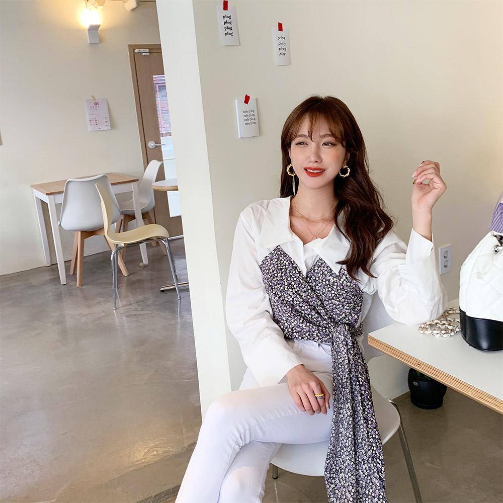 ppgirl-(F589)잔꽃 리본뷔스티에블랑-bl♡韓國女裝上衣