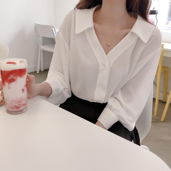 realcoco-카라 브이넥블라우스♡韓國女裝上衣