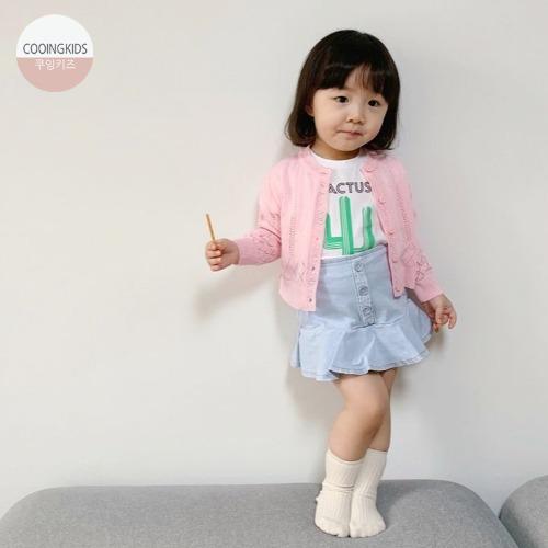 cooingkids-C버튼데님스커트 아기치마 유아치마 예쁜 여자 아기옷♡韓國女童裙子