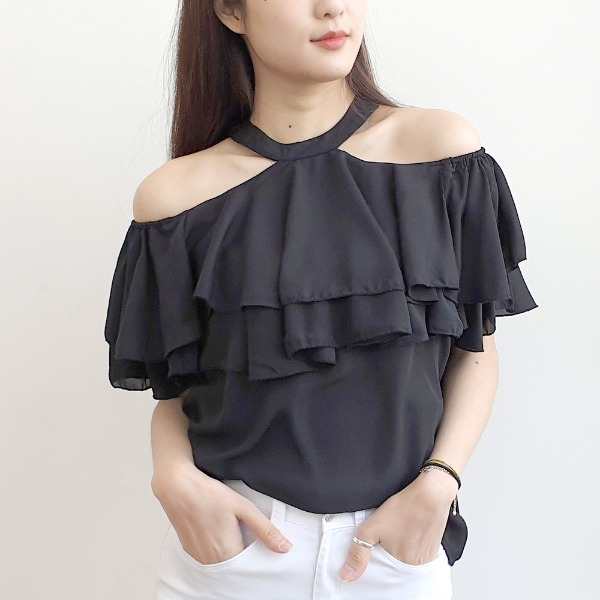 jennifereryn-이중프릴 홀터넥 오프숄더블라우스♡韓國女裝上衣
