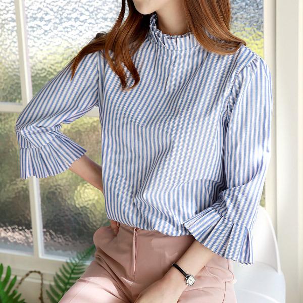 shehj-메린 칠부 핀탁 스트라이프 셔츠♡韓國女裝上衣