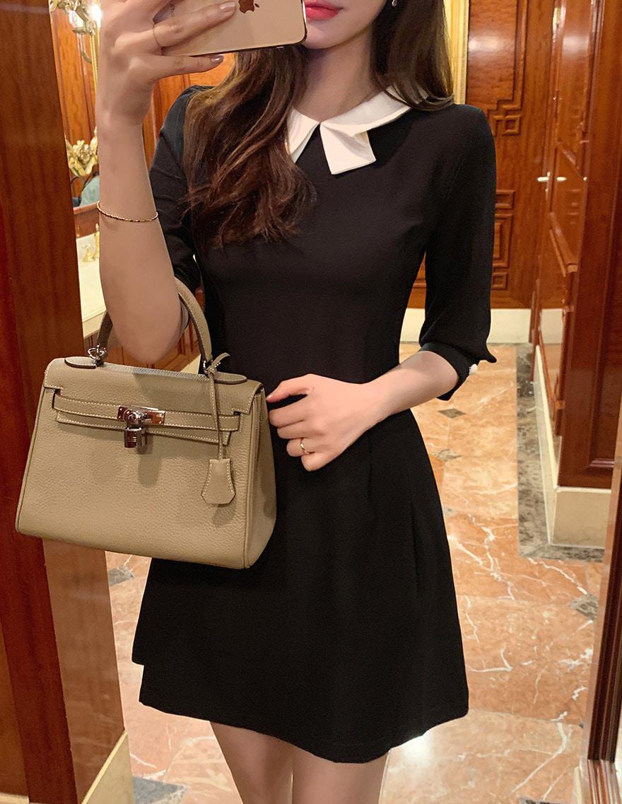 dalihotel-로맨틱 감성 오피스룩 달리호텔 - 상품명 : Folded Collar Mini Dress♡韓國女裝連身裙
