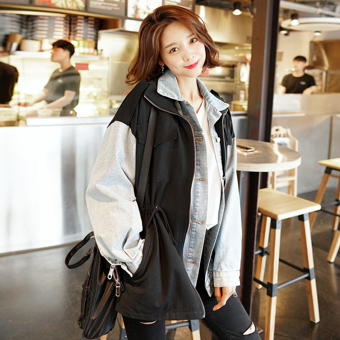 wingsmall-블루칩(데님배색야상JK)♡韓國女裝外套