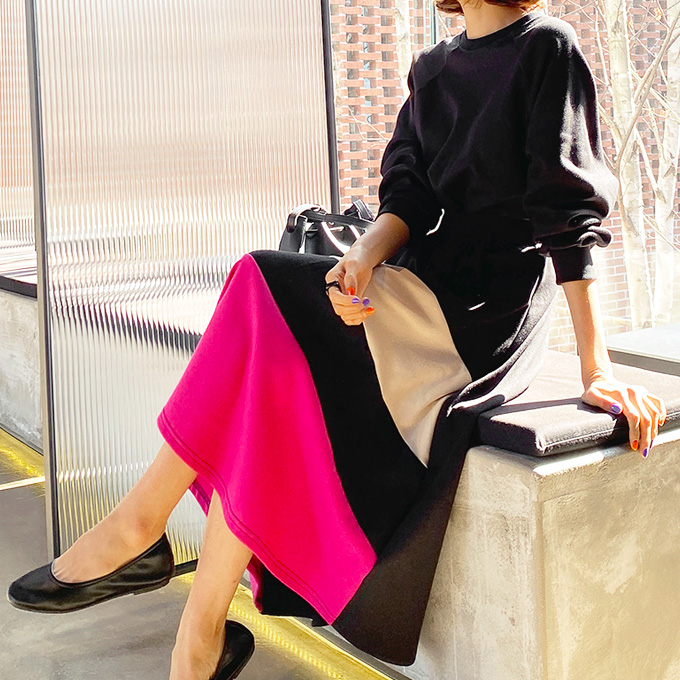 wingsmall-꽃들속에서(배색밴딩플레어롱OPS)♡韓國女裝連身裙