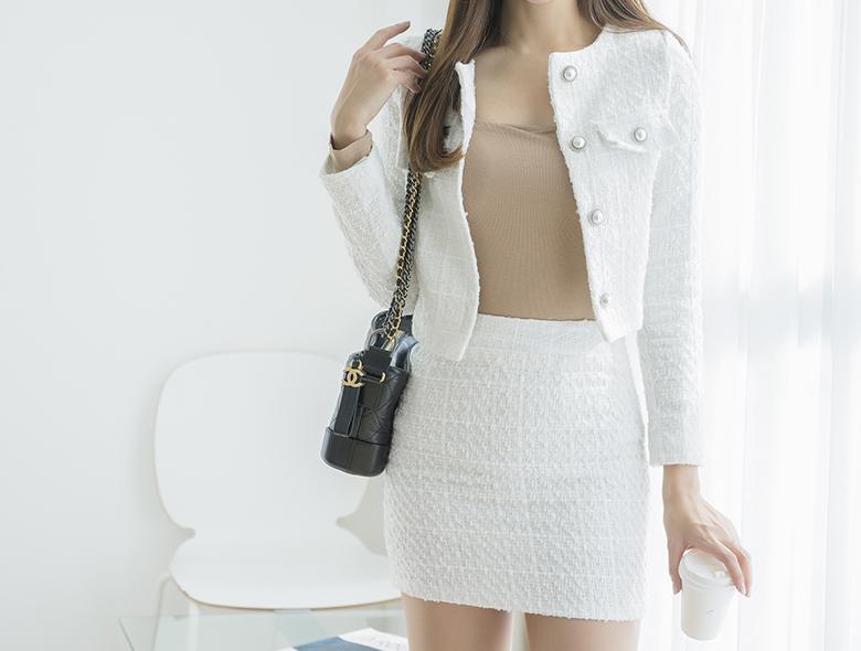 eranzi-[넘버5 화이트 트위드 세트]♡韓國女裝套裝