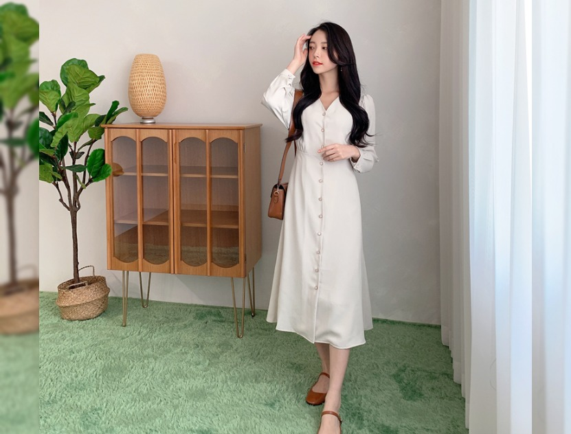 ririnco-쥬토 브이넥 진주버튼 원피스♡韓國女裝連身裙