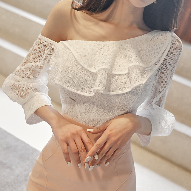 sweetglam-레틴 원숄더 블라우스♡韓國女裝上衣