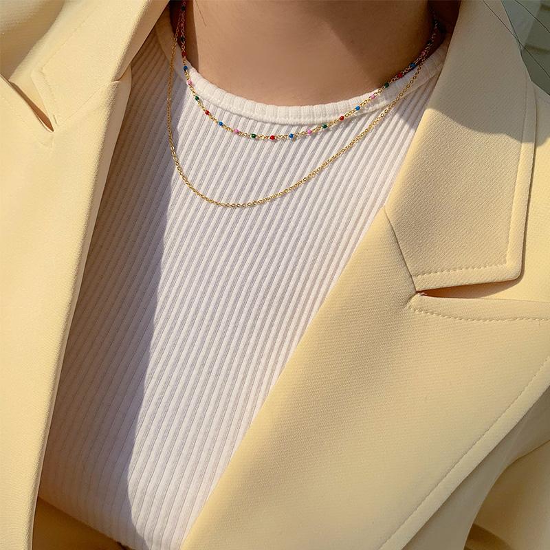 crazygirls-큐브비즈레이어드네크리스-necklace♡韓國女裝飾品