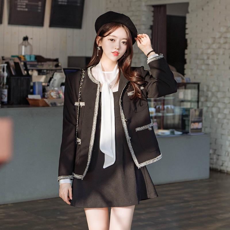 attrangs-jk1134 프린지 배색 라인으로 포인트를 준 클래식한 디자인의 블랙 자켓 jacket♡韓國女裝外套