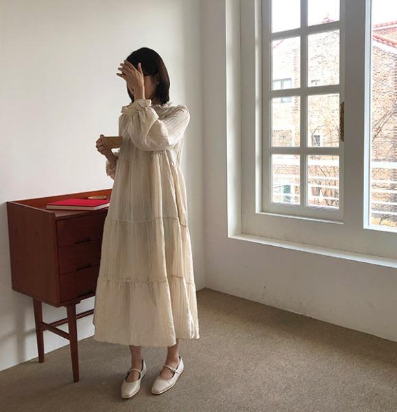 icecream12-카네 프릴 롱 dress | 2020 Spring | 아이스크림12(icecream12)♡韓國女裝連身裙