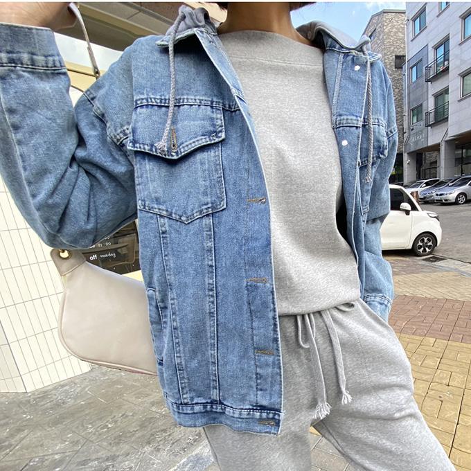 wingsmall-산책가기좋은날(후드오버핏데님JK)♡韓國女裝外套