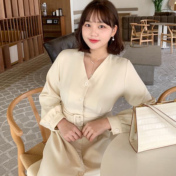 66girls-[LL] 버튼업V벨트OPS♡韓國女裝連身裙
