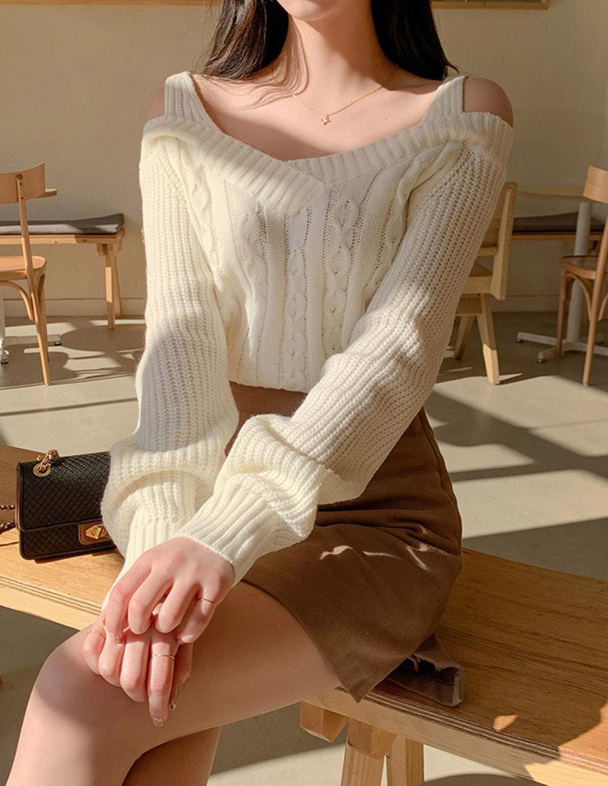 露肩針織上衣