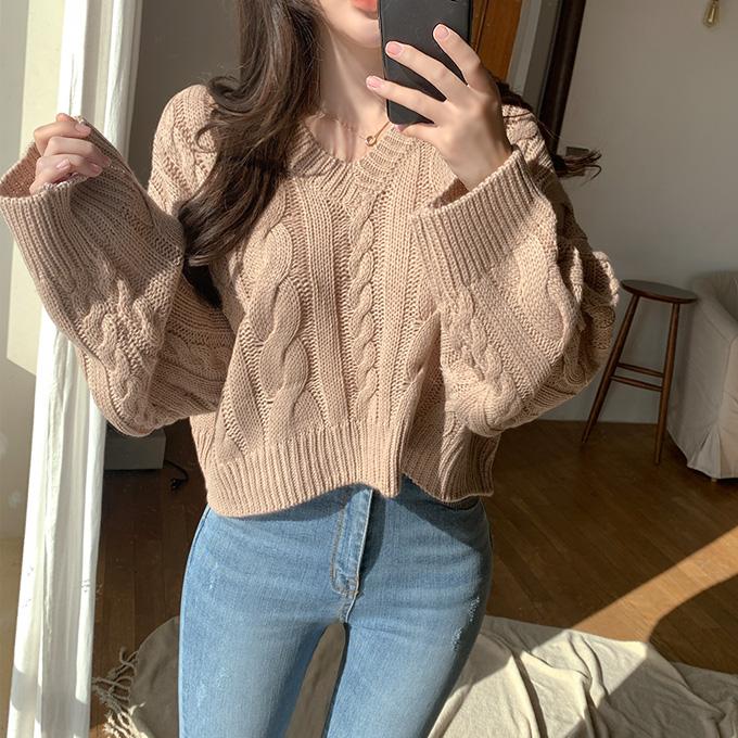 henique-같은 맘일까 꽈배기 브이넥 크롭 니트 티셔츠 (베이지/핑크/소라/블랙)♡韓國女裝上衣