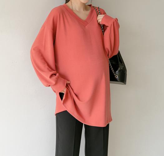 soim-[임부복*브이톡톡 롱티]♡韓國孕婦裝上衣