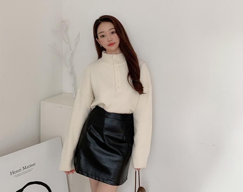 ririnco-벨티링 폴라 버튼 니트♡韓國女裝上衣