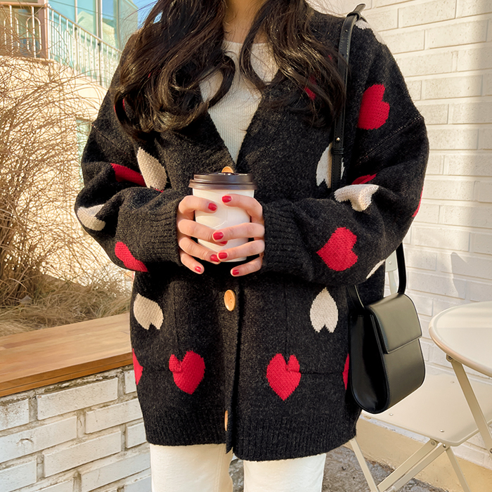 09women-[테릿 루즈핏 울 하트 가디건 52309]♡韓國女裝外套