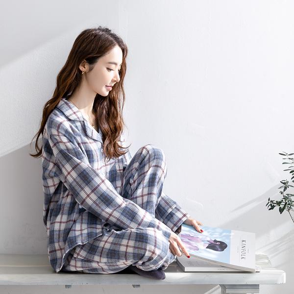misscandy-[no.19902 카라넥 체크패턴 잠옷세트]♡韓國女裝套裝