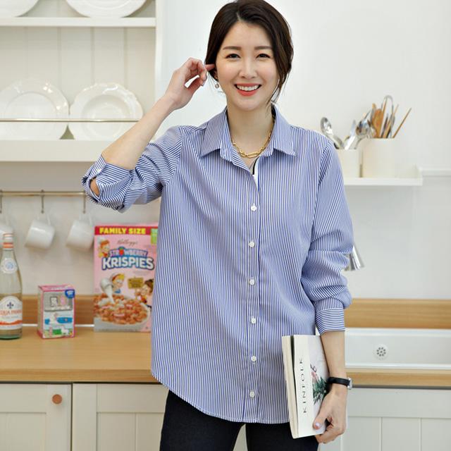tiramisu-135엠케이테잎배색셔츠♡韓國女裝上衣