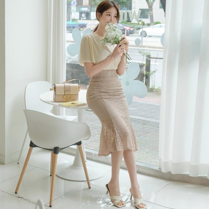 attrangs-sk4235 로맨틱한 감성의 세로 레이스 머메이드 롱 스커트 skirt♡韓國女裝裙