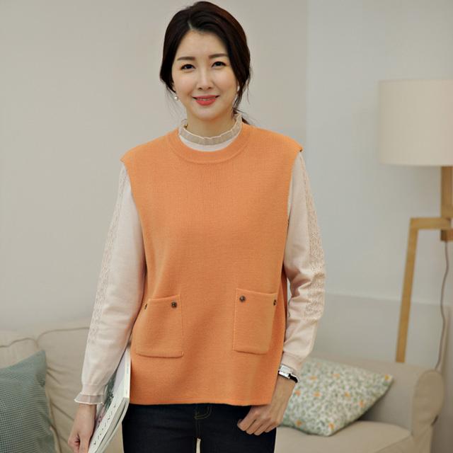 tiramisu-132프라임투포켓니트조끼♡韓國女裝上衣