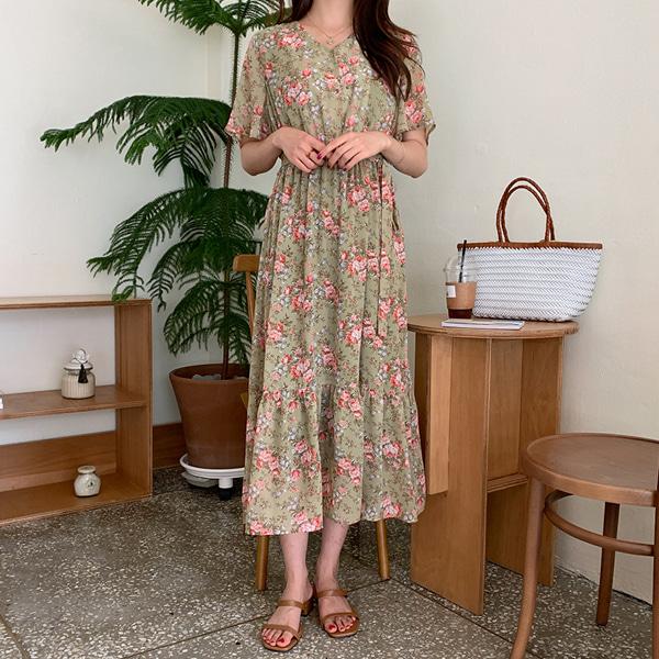 66girls-앤틱플로럴OPS♡韓國女裝連身裙