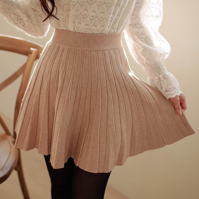 myfiona-스트라이프주름 니트스커트 a1155 - 러블리 로맨틱룩 1위 쇼핑몰 피오나♡韓國女裝裙