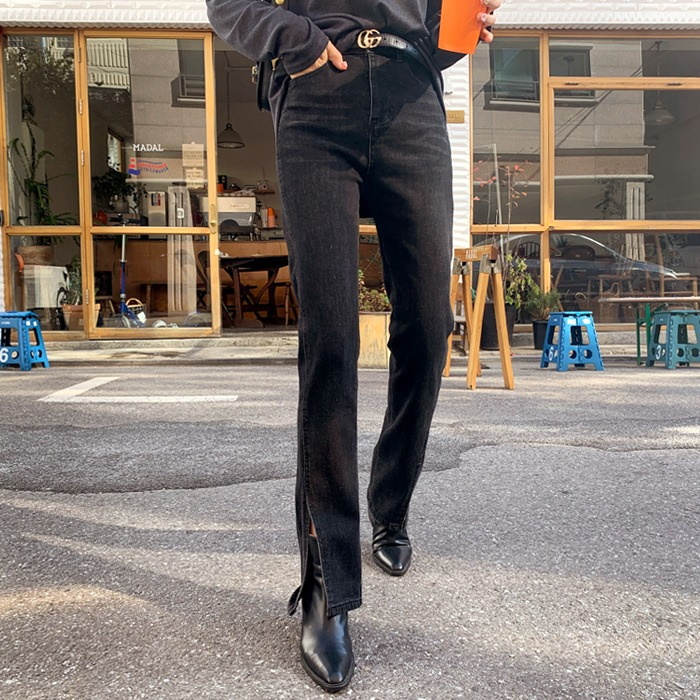 deepny-에션일자슬릿기모데님팬츠 디프니♡韓國女裝褲
