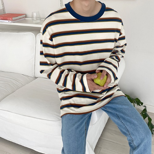 modernsweet-더블 스트라이프 오버 티셔츠 3color - 모던스윗(modernsweet)♡韓國男裝上衣