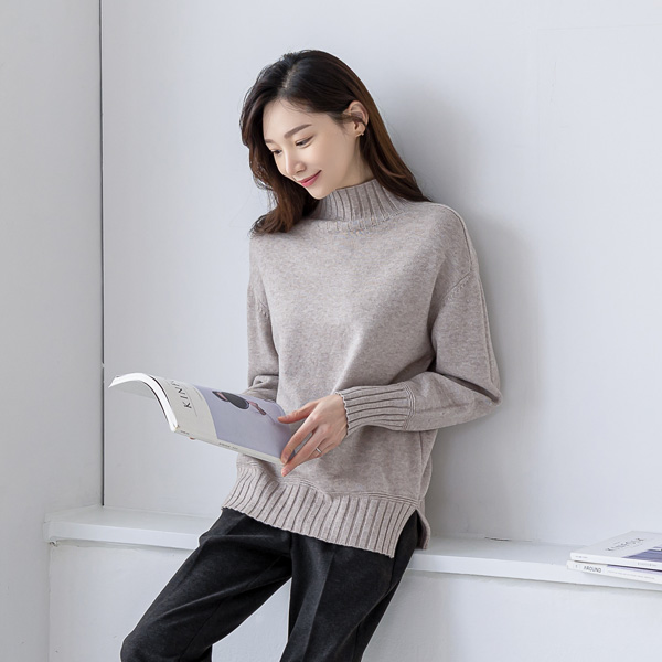 misscandy-[no.19903 반하이넥 루즈핏 비스코스니트]♡韓國女裝上衣