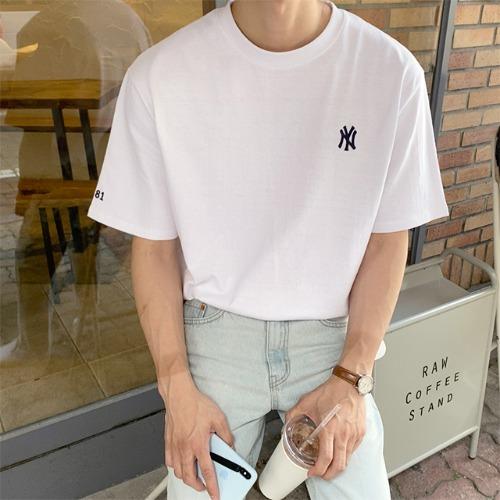 modernsweet-NY 자수 10수 반팔 티 4color - 모던스윗(modernsweet)♡韓國男裝上衣