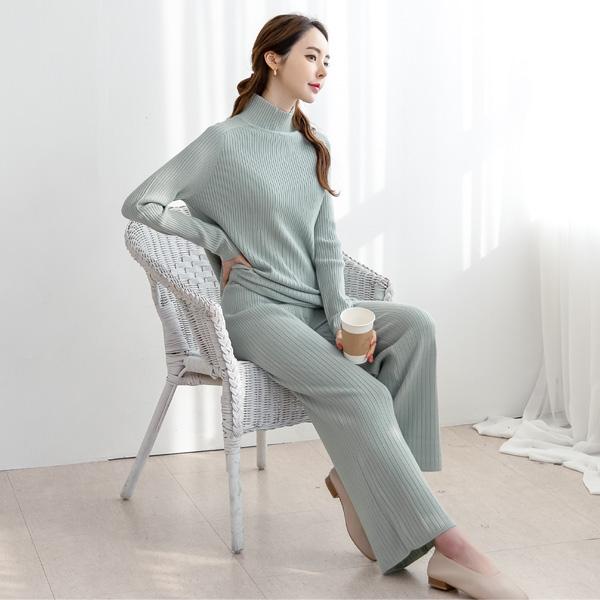 misscandy-[no.19954 올밴딩 세로골지 니트바지]♡韓國女裝褲