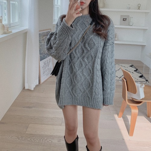 zanne-[LEXY] 꼬끄 울 40% 꽈배기 도톰 니트 원피스 - 잔느♡韓國女裝連身裙