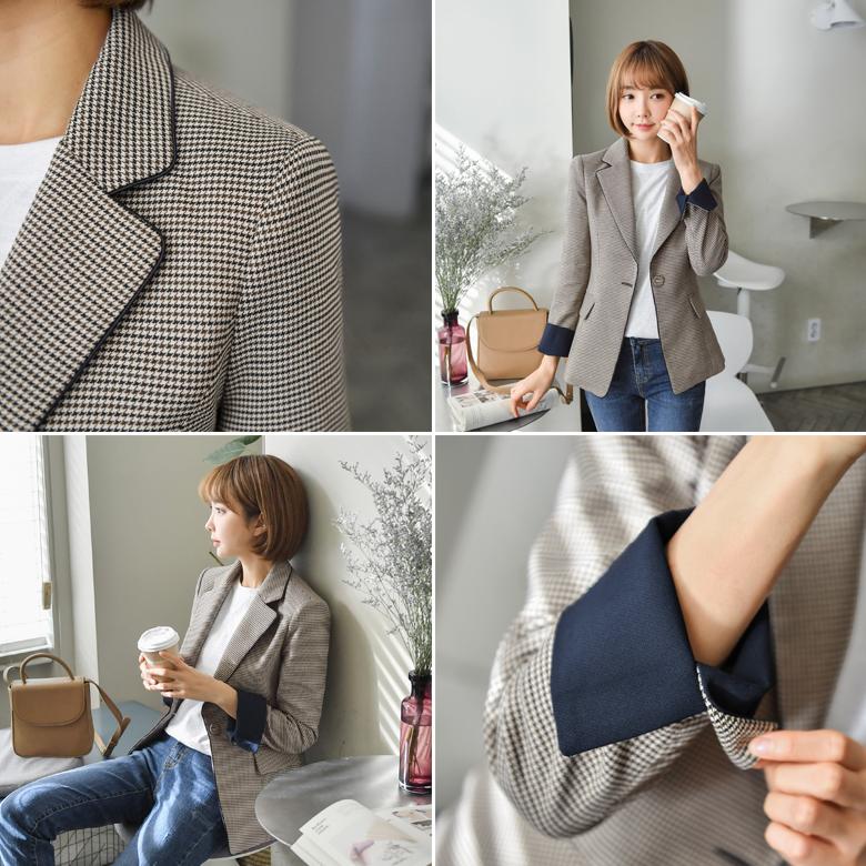 midasb-[티모 소매배색 체크 자켓]♡韓國女裝外套