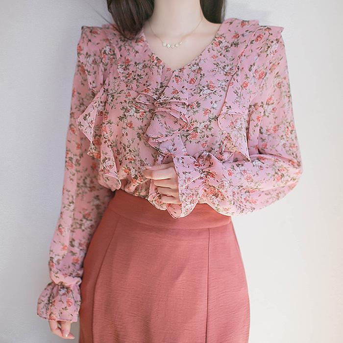 myfiona-장미넝쿨 프릴 쉬폰블라우스 a1184 - 러블리 로맨틱룩 1위 쇼핑몰 피오나♡韓國女裝上衣