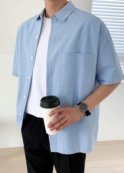 jogunshop-[빅 포켓 파운트리 반팔 남방Free(95~110)]♡韓國男裝上衣