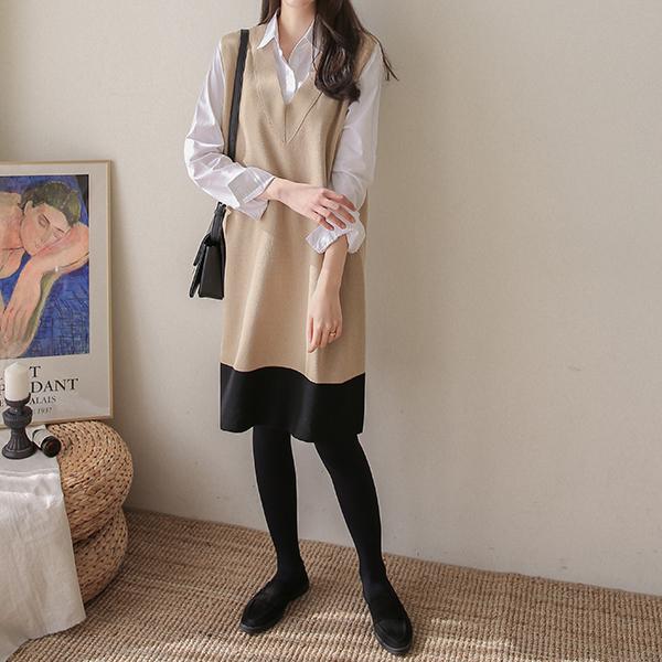 canmart-[배색조끼니트원피스 C013010]♡韓國女裝連身裙