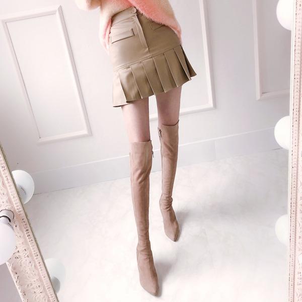 babinpumkin-베이그플리츠 레더 치마바지♡韓國女裝褲