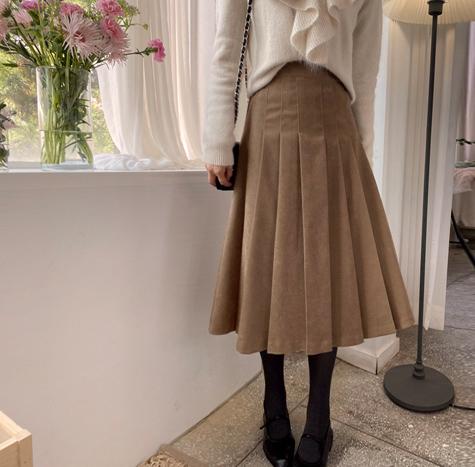 leelin-[스웨이든 주름밴드 스커트[size:F(55~66)]]♡韓國女裝裙