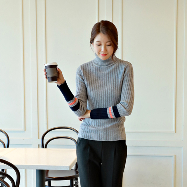 tiramisu-NT4779/미소소매배색골지목폴라♡韓國女裝上衣