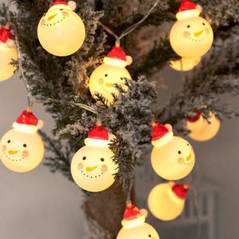 聖誕LED燈 - 雪人花環10P (電芯充電)