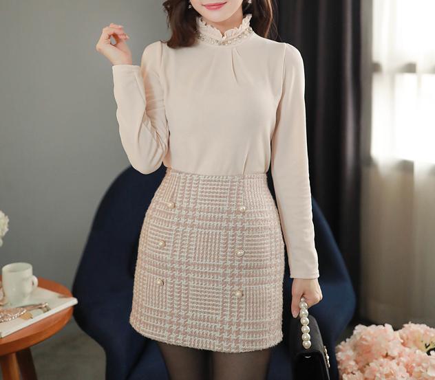 myfiona-진주프릴폴라 셔링티 m9599 - 러블리 로맨틱룩 1위 쇼핑몰 피오나♡韓國女裝上衣