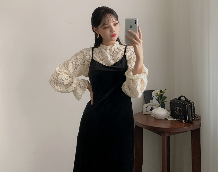 ririnco-페닐로 기모 플라워 레이스 블라우스♡韓國女裝上衣