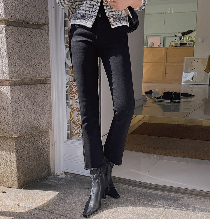 merongshop-[무료배송] 컷팅블랙스판부츠컷pt [S-XL]♡韓國女裝褲