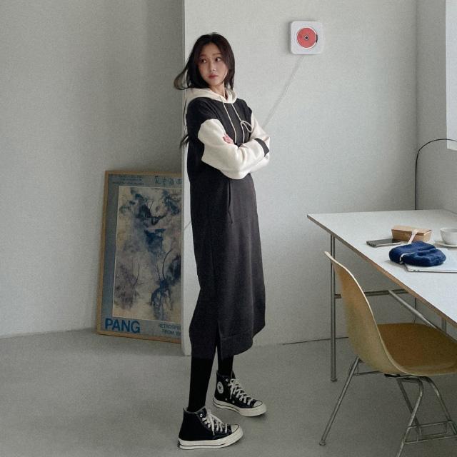 banharu-반하루[에그 배색 기모후드원피스]♡韓國女裝連身裙