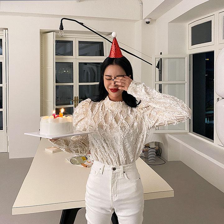 lagirl-레이시벨벳블라우스-bl♡韓國女裝上衣