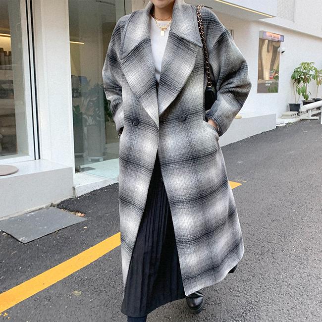 cherryville-[설레이는체크 루즈핏코트]♡韓國女裝外套