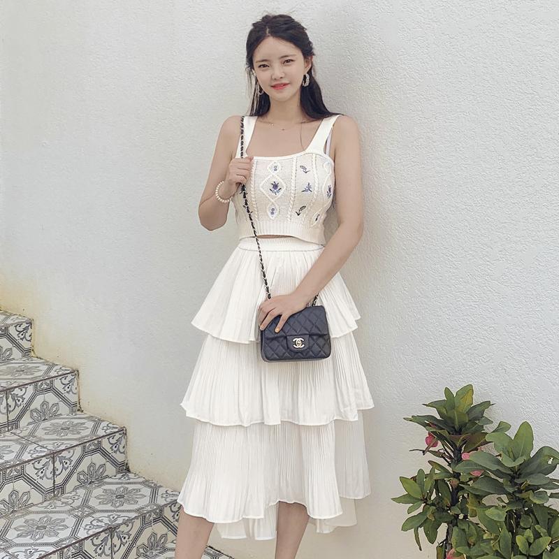 attrangs-op9499 플라워 패턴 뜨개 나시와 플리츠 캉캉 스커트 구성의 투피스 세트 two piece set♡韓國女裝套裝